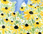 Black eyed Susan field, art print of watercolor painting, field, yellow, blue, green, wall art, spring, mothers day, floral print