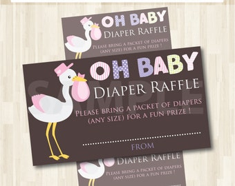 Diaper Raffle Ticket Baby Shower sign and invitation inserts Printable--instant download- Digital File - Print your Own