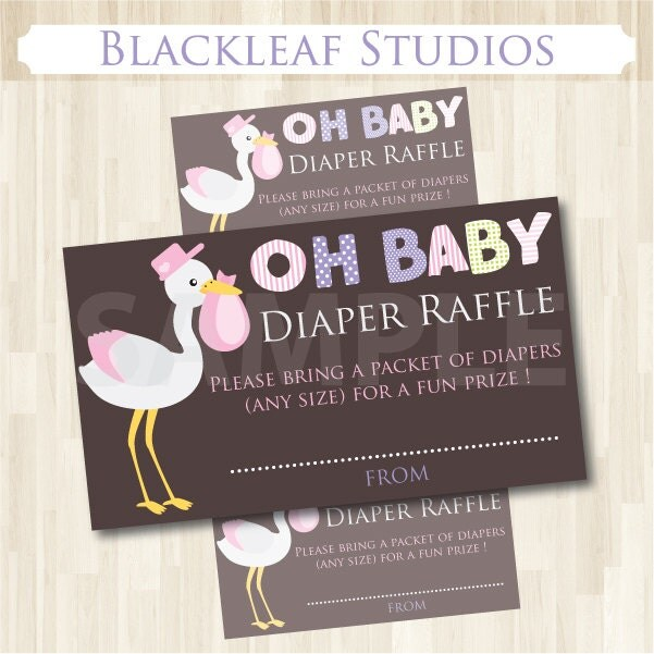 Diaper Raffle Ticket Baby Shower sign and invitation inserts