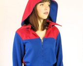 70s Hooded Jump Suit Vintage Hip Hop Sports Team Old School Red Blue Color Block Small