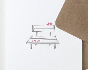 birds on a bench | letterpress greeting card