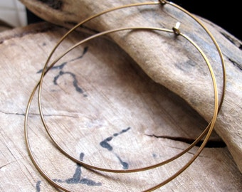 Bronze Hoop Earrings / Extra Large Hoops 3 inch / Hammered Flat Earrings / Big Hoops / Modern Jewelry / Big Hoops / Flat Round Earrings