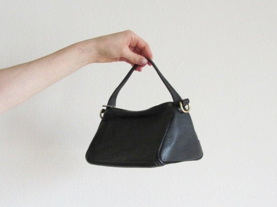 mid century triangle box purse . black leather handbag . rare JP Ourse & Cie Geneve .sale