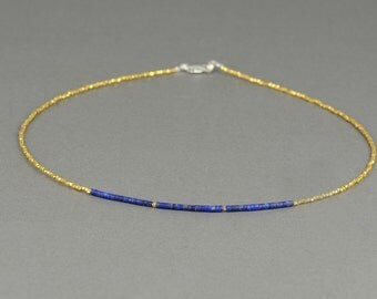 Vermeil gold Sterling silver and Lapis lazuli necklace