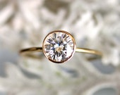 6.5mm Forever Brilliant Moissanite 14K Gold Engagement Ring, Stacking Ring - Made To Order