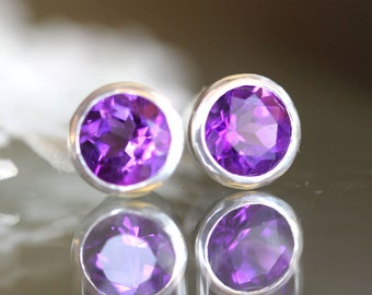 Deep Purple Amethyst Sterling Silver Ear Studs, Birthstone, Gemstone, No Nickel / Nickel Free - Made to Order