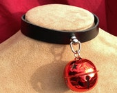 Shiny 1.5 inch Red Bell on Black Leather Choker