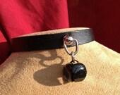 Black Jingle Bell on Black Leather Choker