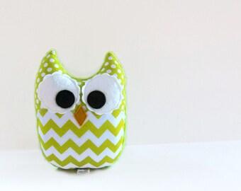 Owl Plush Mini Pillow Toy Minky Lime Green Chevron Nursery Decor
