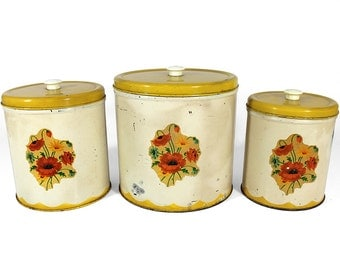 Set of 3 Retro Tin Canisters