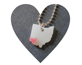 Cincinnati Ohio Necklace with Pink Heart, State Jewelry