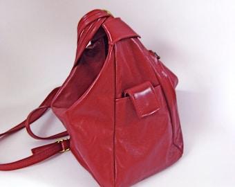 Convertible Leather Backpack Purse /Handbag /ShoulderBag /Travel Bag-The Bianca