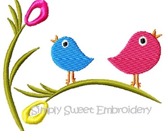 Two Singing Birds Machine Embroidery Design Single 4x4 hoop