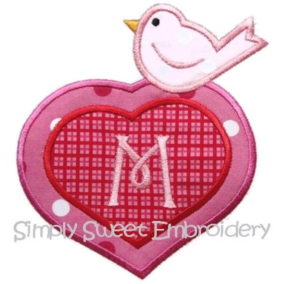 Valentine Bird Machine Embroidery Applique Design