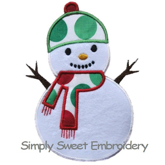 Snowman applique machine embroidery by simplysweetembroider