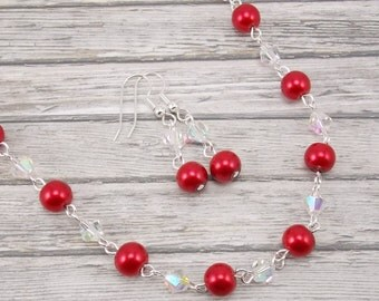 Necklace and Earring Set - Red Glass Pearls with Aurora Borealis Glass Beads