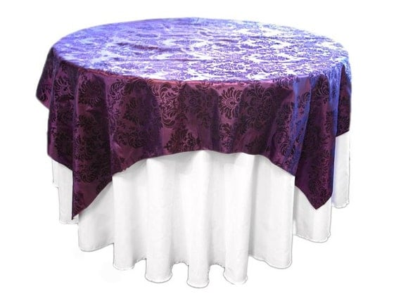Items Similar To Damask Table Overlay 72x72 Tablecloth Platinum Eggplant  Purple Pink Brown Gold Red On Etsy