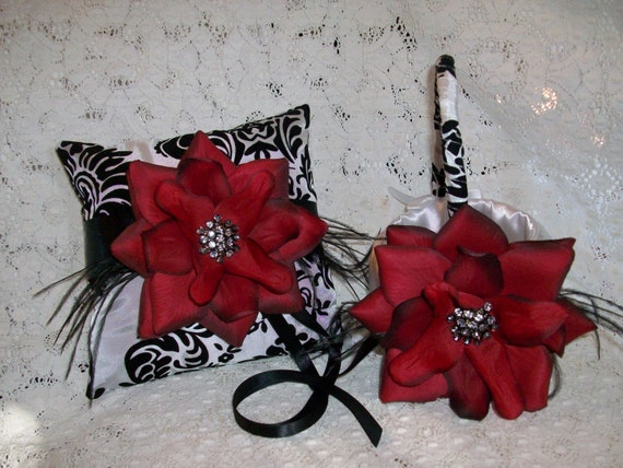 Damask Flower Girl Basket And Ring Pillow : Red and black damask ring bearer pillow flower girl basket