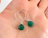 Green Onyx Earrings on Sterling Silver