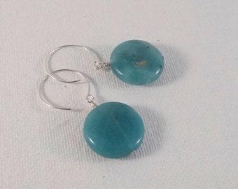 Blue Amazonite Earrings on Sterling Silver