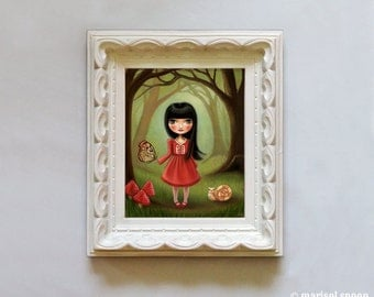alice in wonderland Woodland girl The Bright Forest print on somerset velvet mushrooms, butterfly, and snail by Marisol Spoon