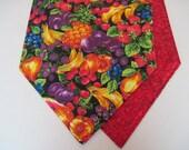 "SALE Vibrant Fruit Table Runner 54"" Reversible Mixed Fruit Table Runner Bright Primary Colors Strawberry Blueberry Cherry Table Runner"