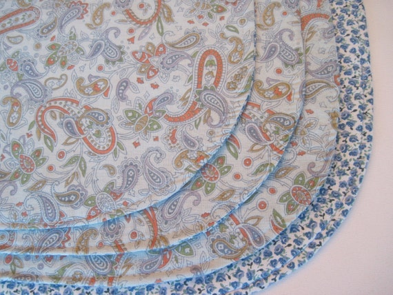 Light Blue Paisley Oval Placemats Set Of 4 By