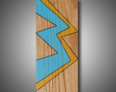 """Shiver:  Original Abstract Art on Red Oak Panel - Woodburned and Colored with Prismacolor Pencil - Sky Blue, Goldenrod - 3.5"""" x 9"""""""