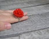 Mums the Word Adjustable Ring - Red Chrysanthemum