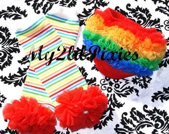 Rainbow Baby Girl Set- Baby Ruffle Bum Baby Bloomer Diaper Cover and Rainbow Leg warmers with chiffon ruffle- Photos