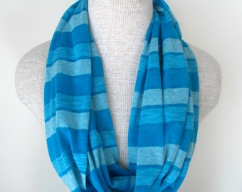 READY TO SHIP - Blue Striped Jersey Knit Infinity Scarf