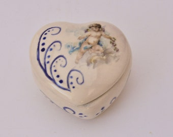 Angel blue heart box. An elegant keepsake gift box. Engagement ring box.