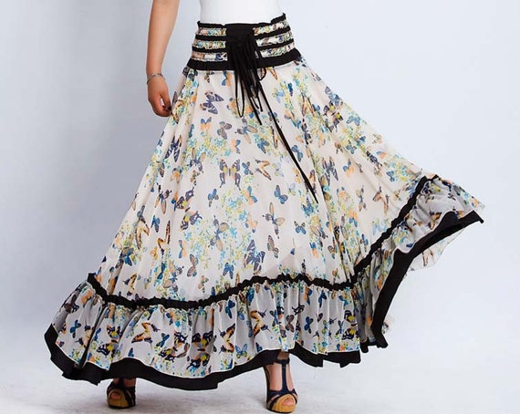 Maxi Ruffles Summer Skirt or Strapless Dress - Long Full Butterfly Print with Elastic Waist - 2 in 1 (137)