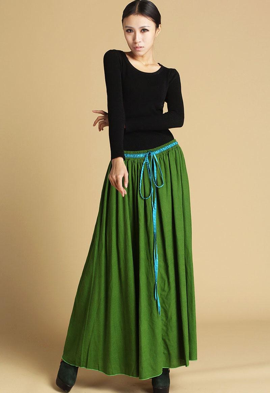 lime green skirt linen skirt skirtmaxi