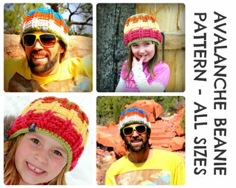 CROCHET PATTERNS - Avalanche Beanie - Adults & Kids Sizes