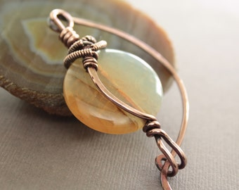 Shawl pin or scarf pin in solid copper with wrapped light yellow caramel agate stone - Agate pin - Stone pin - Fibula - SP007