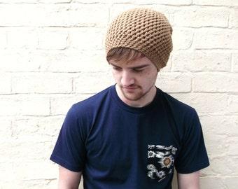 Mens brown beanie, boyfriend beanie hat, guys oversized slouch accessory.