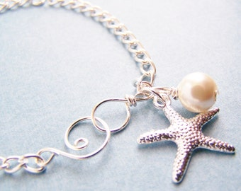 Starfish and Glass Pearl Bracelets - silver or gold - choose ivory or OTHER COLORS of glass pearls - affordable bradesmaid sets - weddings