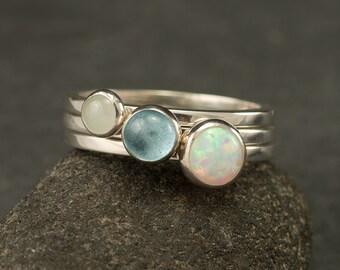 Stacking Rings- Silver Stacking Ring Set- Stack Rings- Stone Rings- Blue Topaz Ring, Opal Ring, Aquamarine Ring