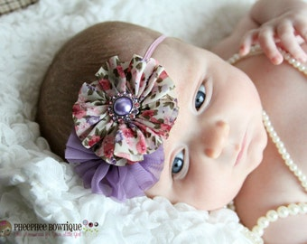 Pink Flower Headband, Lavender,Ivory, Vintage, Newborn Headband, Baby Headband, Infant Headband, Flower Girl, Baby Shower Gift, Birthday Bow