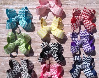 Set of 10 Chevron Hair Bows, UPIC Colors, School Bows, Birthday Bows, Newborn Headband, Infant Headband, Baby Headband, Baby & Toddler