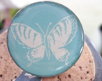 Vintage ButterflyTextbook Image Button/Tie Tack/Brooch/Pin