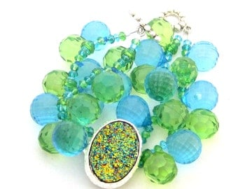 Colors of the Ocean - round faceted bubble baubles and sparkle druzy focal
