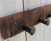 Railroad Spikes - Wall Hooks - 36 Inches - Four Spikes - Handcrafted - Your Choice of Color or Natural Wood