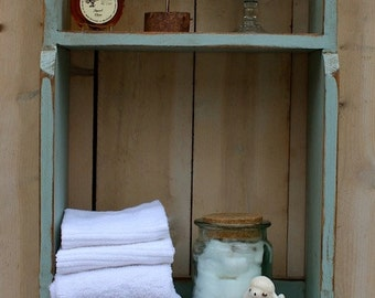 Distressed - Hanging Bath Storage - Shelf - Shabby - Cottage Chic Decor - Bathroom - Kitchen - Wall Sheve - Wood Shelving - Kitchen - Towel