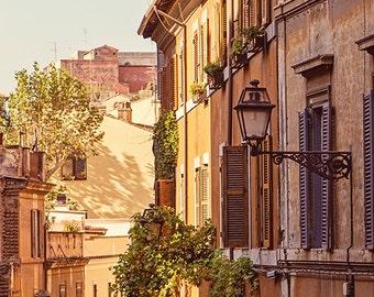 Rome Art, Italy Photography, Rome Travel Photography, Burnt Orange, Sunshine, Rome Street Wall Decor, Italy Decor, Fine Art Photography