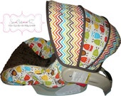 Car Seat Cover Bermuda Chevron with Owls Infant