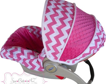 Infant Car Seat Cover Hot Pink Chevron with Hot Pink