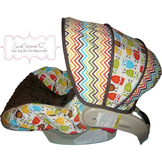 items similar to car seat cover bermuda chevron with owls infant on etsy. Black Bedroom Furniture Sets. Home Design Ideas