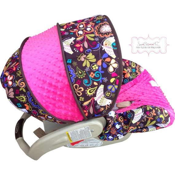 Infant Car Seat Cover Birds of Norway with Hot Pink